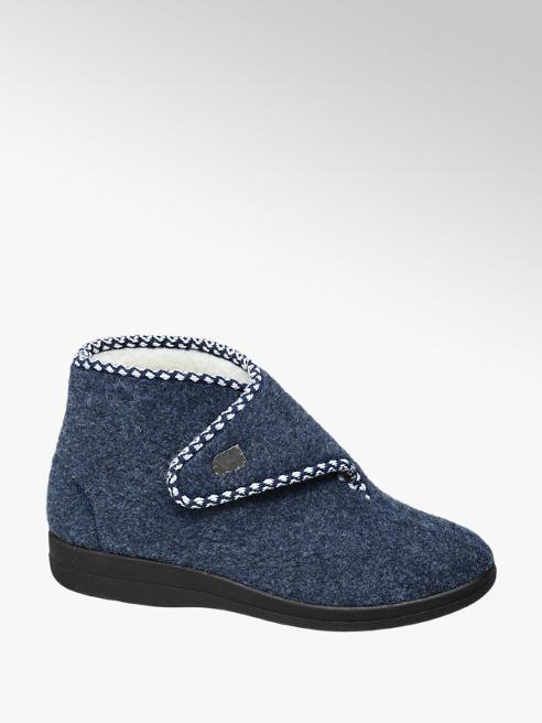 Casa mia Blauwe pantoffel klittenband