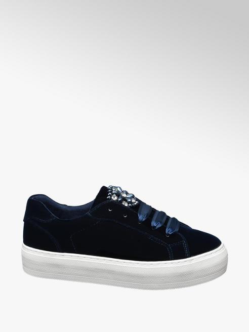 Graceland Blauwe velvet sneaker strass stenen