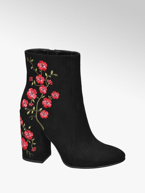 Graceland Zwarte enkellaars bloemen