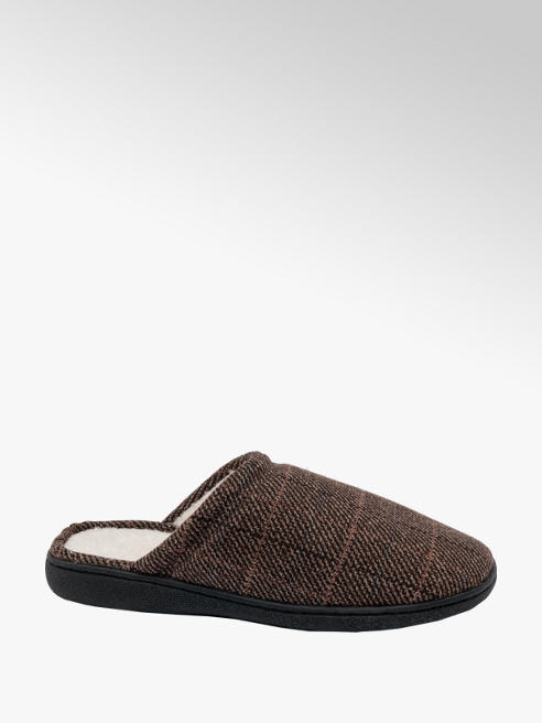 Mens Checked Mule Slippers