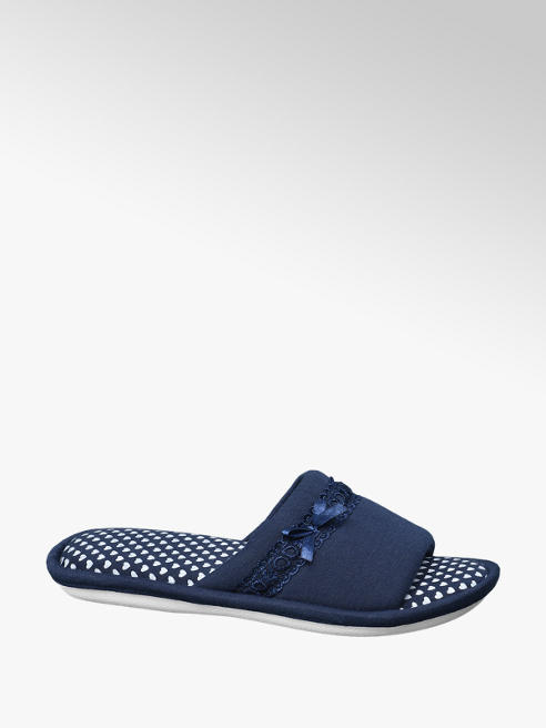 Casa mia Blauwe pantoffel strikje