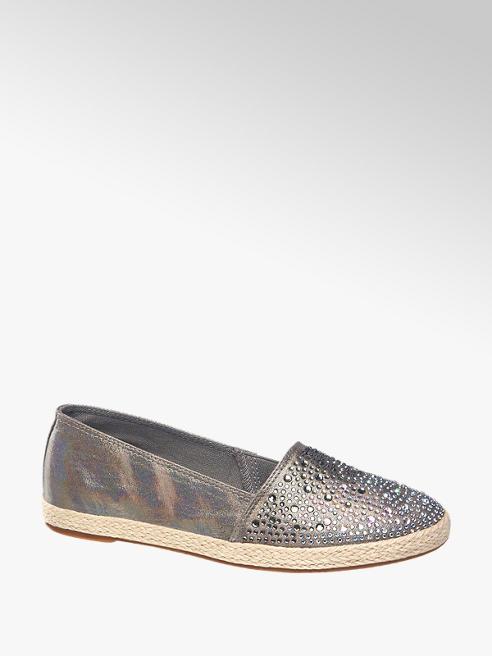 Graceland Grijze metallic espadrille instapper steentjes