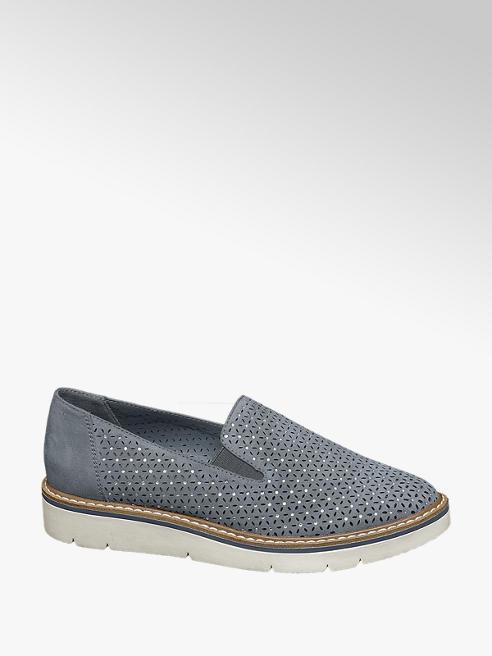 Graceland Blauwe loafer perforaties