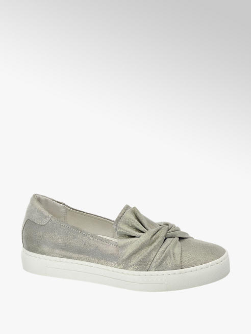 5th Avenue Zilveren leren slip-on strik