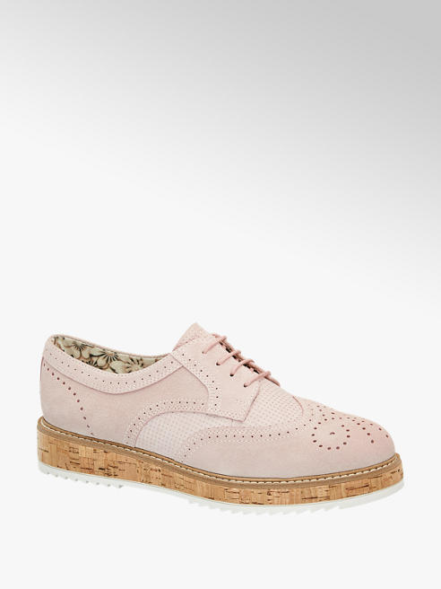 5th Avenue Roze suède dandy veterschoen brogue