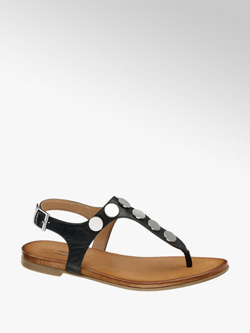 5th Avenue Zwarte leren sandaal studs