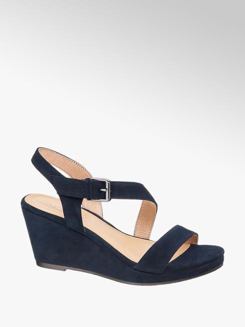 5th Avenue Blauwe suède sandalette sleehak