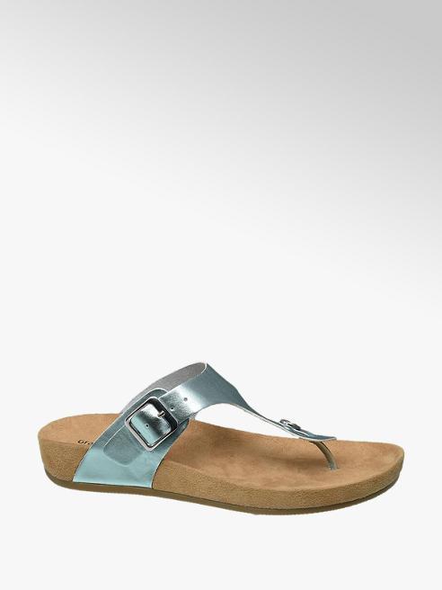 Graceland Blauwe metallic sandaal leren voetbed
