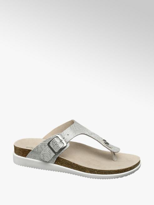 Graceland Zilveren sandaal leren voetbed