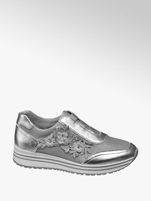 Graceland Zilveren plateau sneaker bloemen
