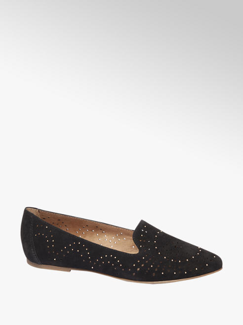 5th Avenue Zwarte Suéde loafer perforatie
