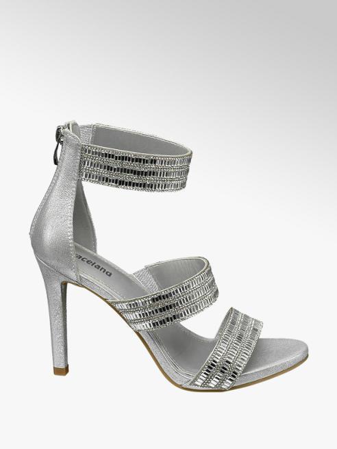 Graceland Zilveren sandalette steentjes