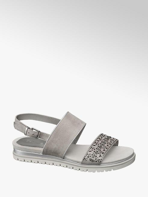 Graceland Grijze sandaal perforaties