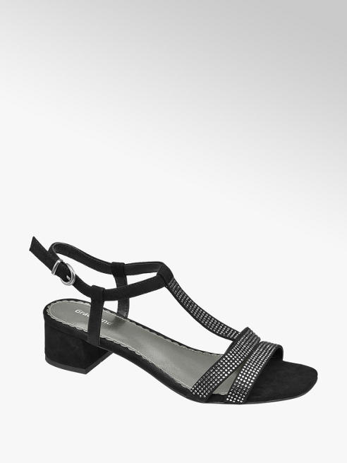 Graceland Zwarte sandaal zilveren studs