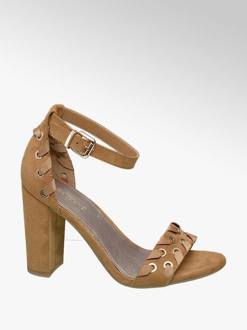 Graceland Bruine sandalette sierveter