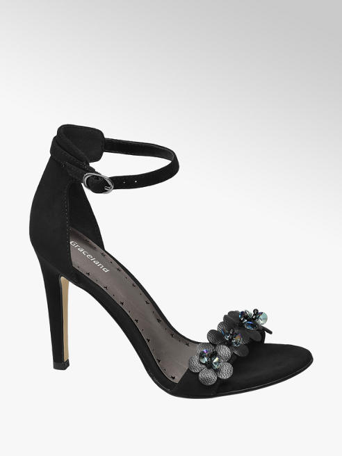 Graceland Zwarte sandaal bloemen