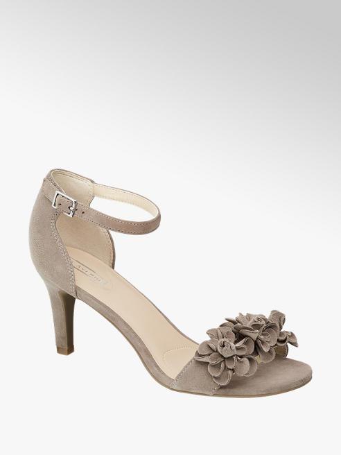5th Avenue Taupe suède sandalette bloemen