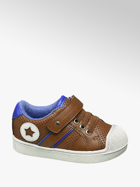 Bobbi-Shoes Bruine sneaker klittenband