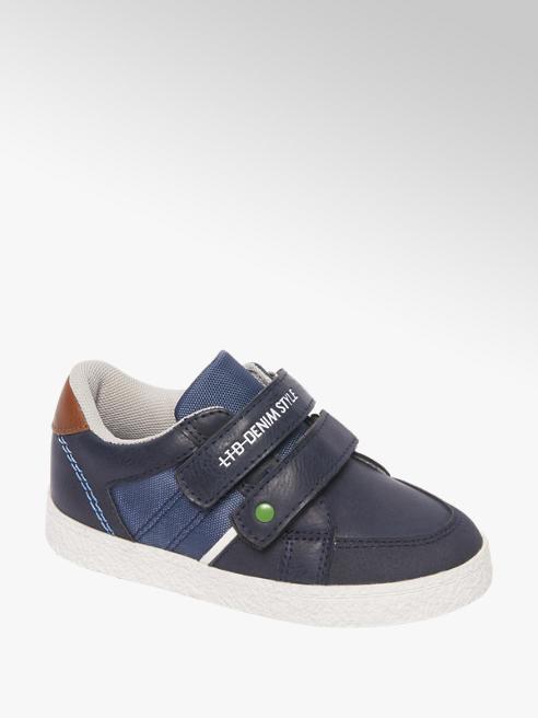 Bobbi-Shoes Blauwe nubuck sneaker klittenband