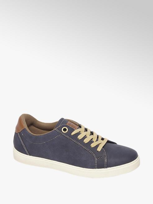 Agaxy Donkerblauwe sneaker bruine hak