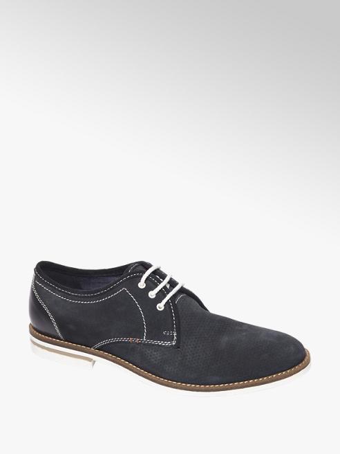 AM shoe Blauwe suède veterschoen