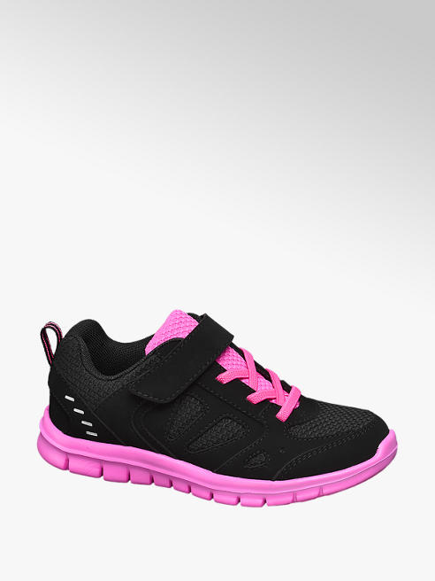 Vty Junior Girls VTY Black/ Pink Touch Strap Trainers