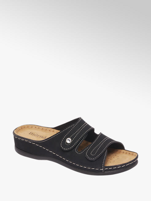 Björndal Zwarte sandaal leren voetbed