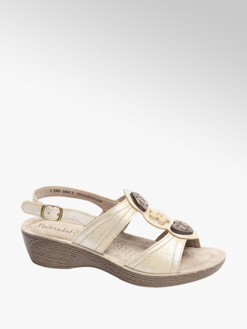 Björndal Gouden sandaal leren voetbed