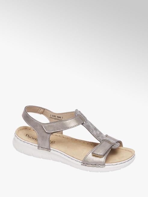 Björndal Grijze metallic sandaal leren voetbed