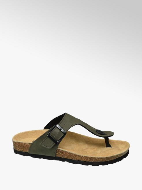Graceland Khaki sandaal leren voetbed