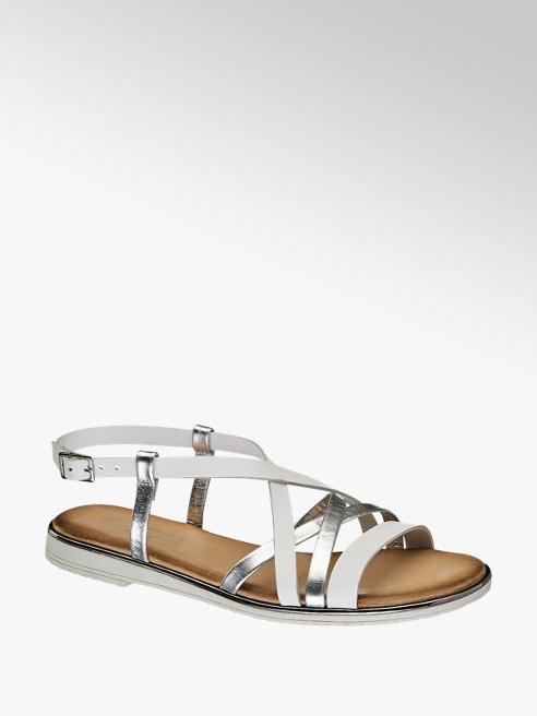 5th Avenue Wit/zilveren sandaal leer