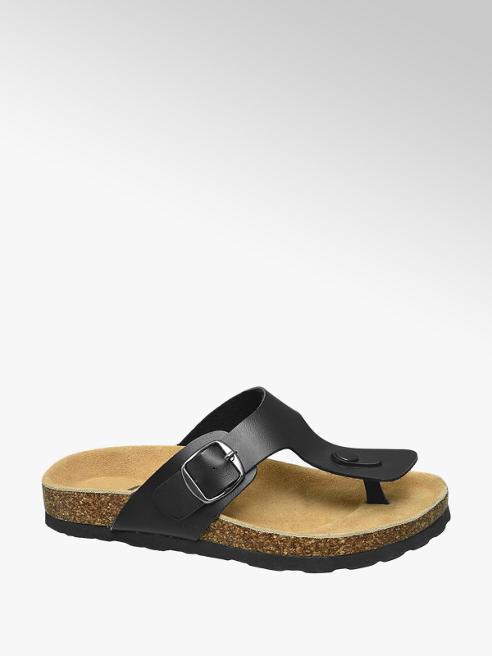 Agaxy Zwarte sandaal siergesp