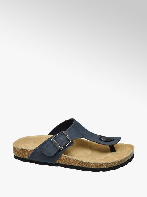 Agaxy Blauwe sandaal leren voetbed