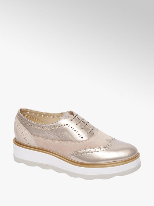 5th Avenue Rosé leren dandy veterschoen plateauzool