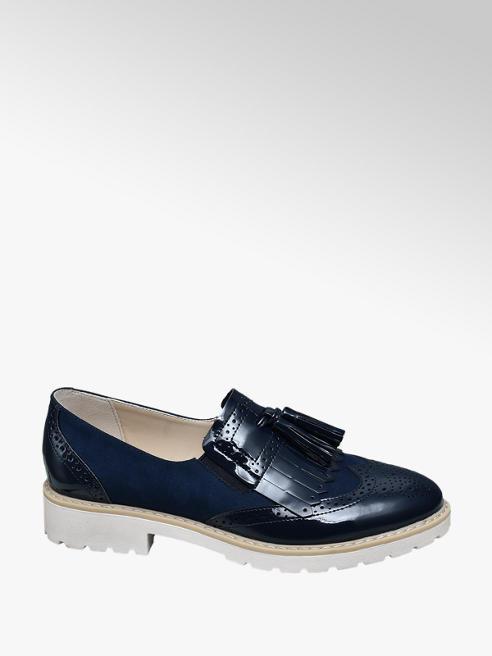 Graceland Blauwe brogue loafers franjes