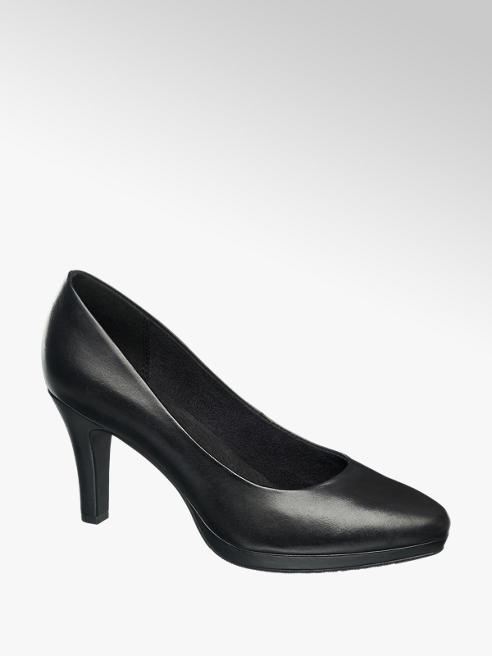 5th Avenue Zwarte leren pump plateauzool