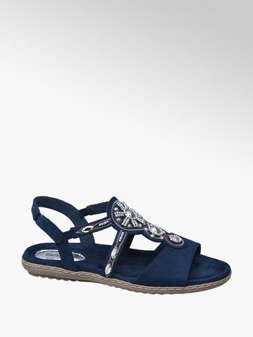 Graceland Donkerblauwe sandaal kraaltjes