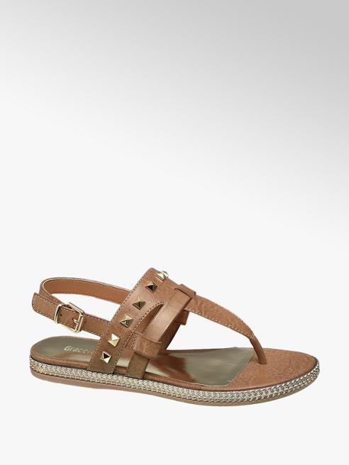 Graceland Cognac sandaal met studs