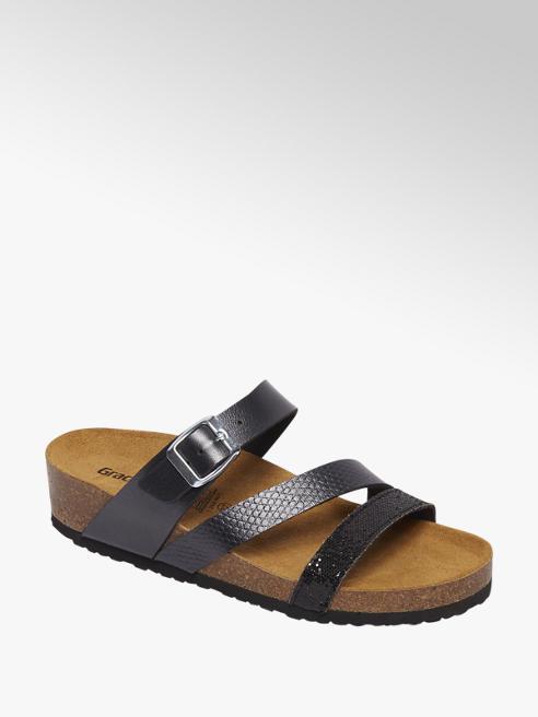 Graceland Zwarte sandaal leren voetbed