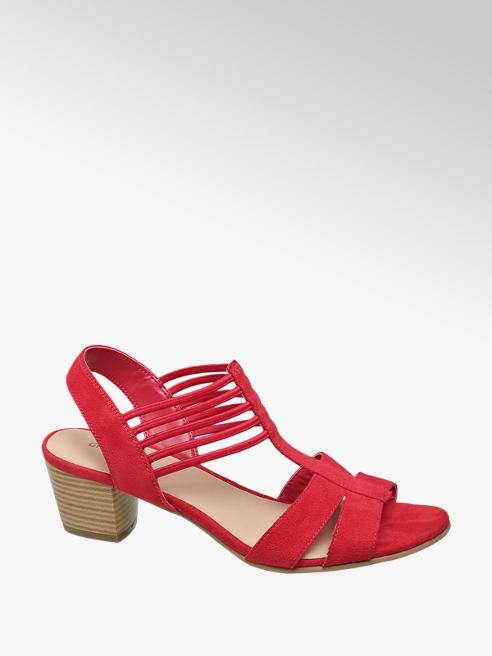 Graceland Rode sandalette elastiek