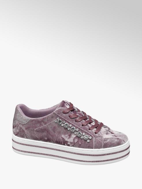 Graceland Paarse velvet sneaker steentjes