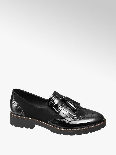 Graceland Zwarte brogue lak instapper