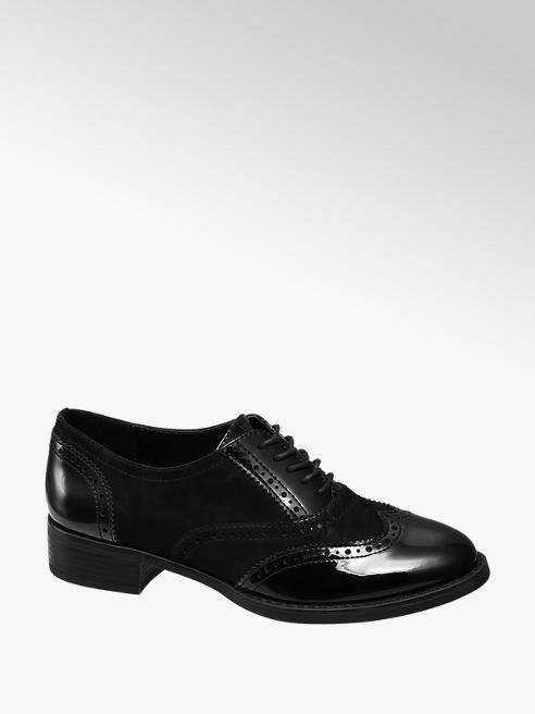 Graceland Zwarte brogue veterschoen lak