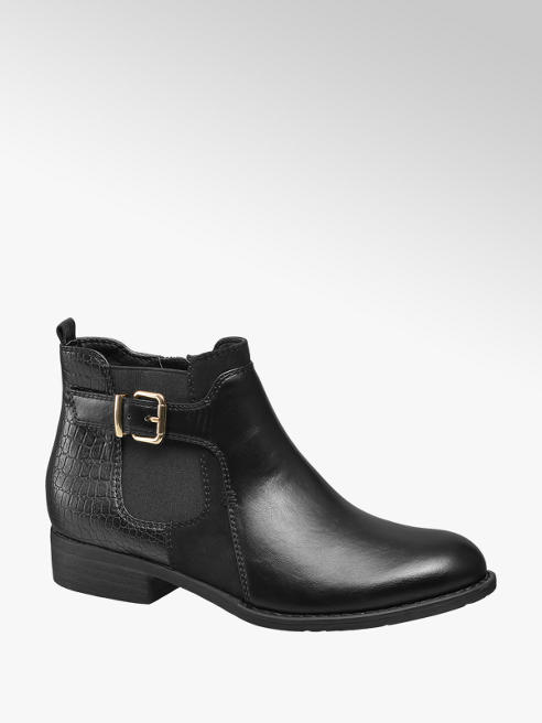 Graceland Zwarte chelsea boot crocoprint