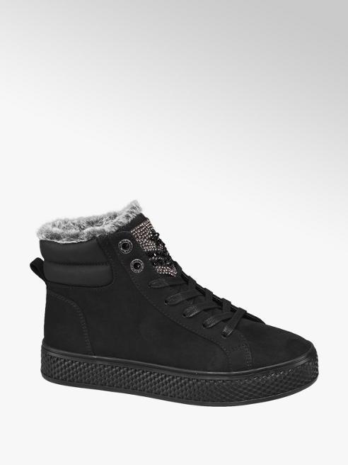Graceland Zwarte halfhoge sneaker bont