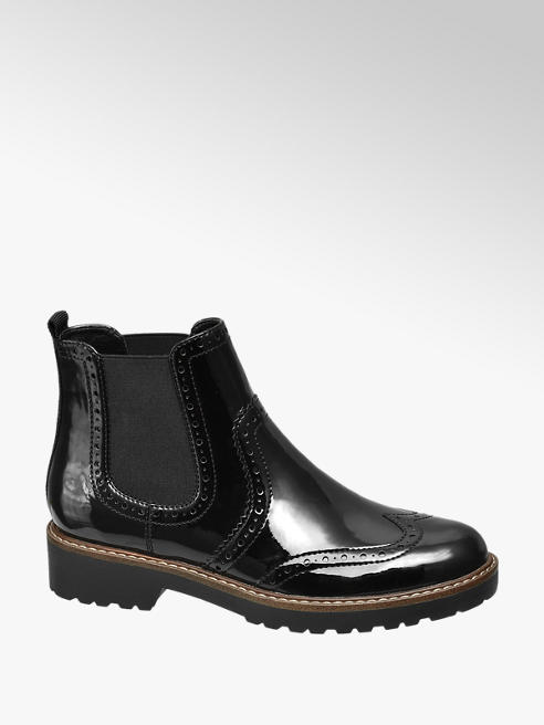 Graceland Zwarte chelsea boot brogue lak