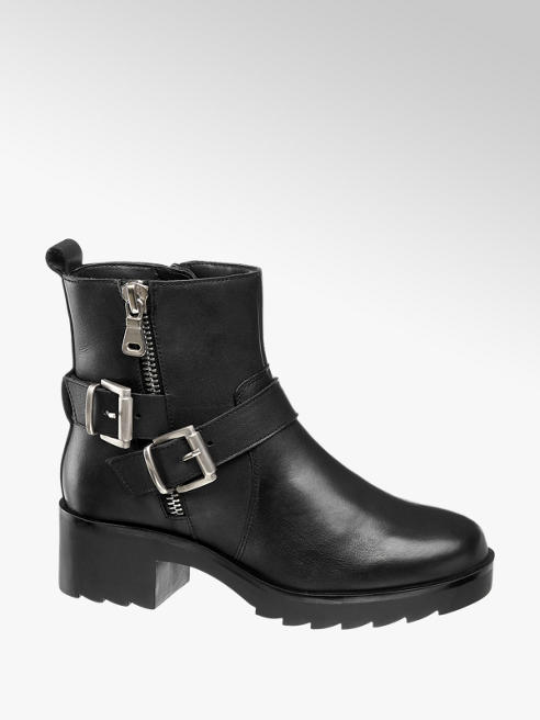 5th Avenue Black Chunky Zip Up Ankle Boots