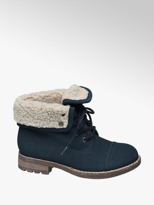 Graceland Junior Girl Navy Lace-up Ankle Boots