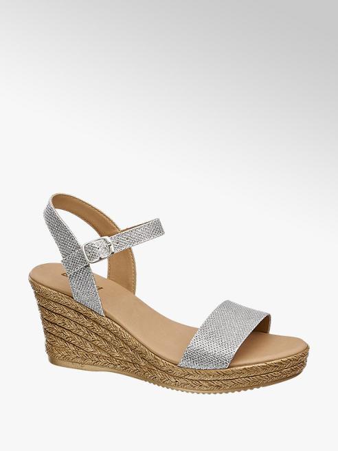 Graceland Zilveren sandaal sleehak