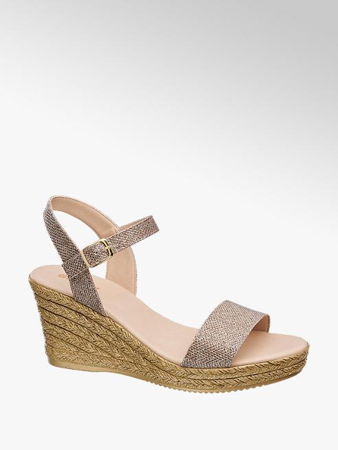 Graceland Rosé gouden sandaal sleehak